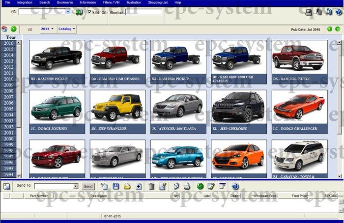 Каталог запчастей EPC Chrysler окно выбора моделей и вводи ВИН кода