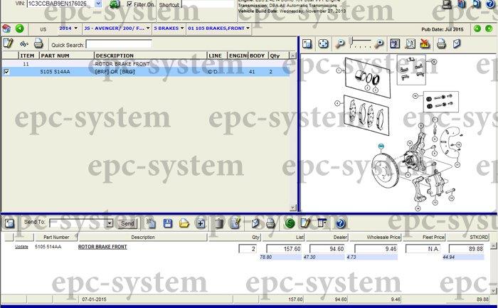 Каталог запчастей EPC Chrysler окно тормозной системы для Крайслер 200