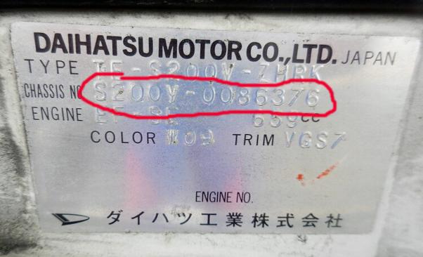 Chassis no. Daihatsu