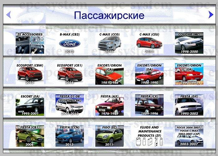 Каталог запчастей Ford Europe (Форд Европа) стартовое окно
