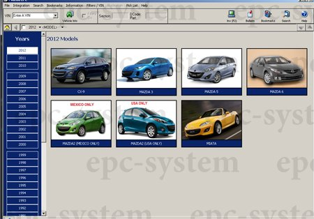 Каталог Mazda USA Американского рынка - главное меню каталога