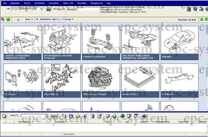 Каталог запчастей EPC Chrysler окно выбора узлов запчастей для Крайслер 200