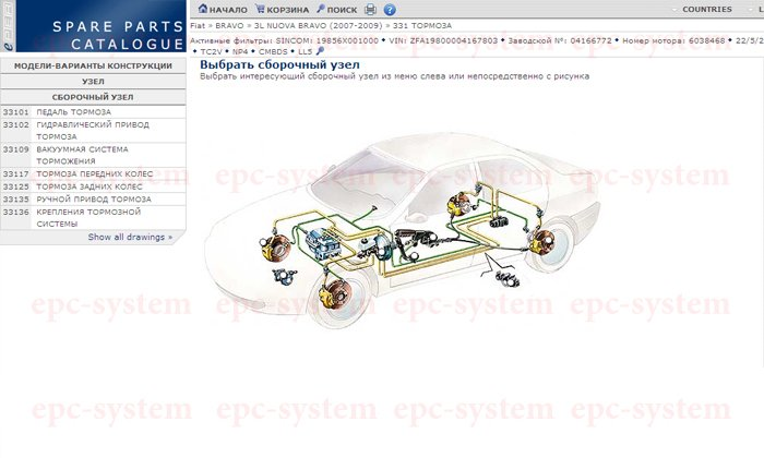 Пробивка VIN кода FIAT окно узла тормозной системы